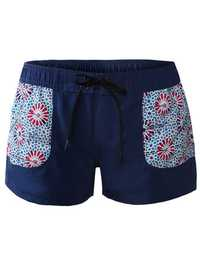 Split Beach Printed Pocket Design Boxer Swimming Trunks