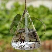 Hanging Triangle Glass Hydroponics Flower Vase Home Garden Wedding Party Decoration
