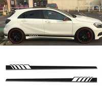 2Pcs 220x11.5cm Long Stripe Graphics Car Stickers Off-Road Side Body Vinyl Decals Black
