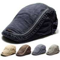 Mens Cotton Berets Caps Embroidery Painter Casual Outdoor Visor Forward Hat