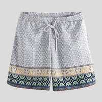 Men Ethnic Pattern Print Quick Dry Drawstring Board Shorts