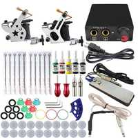 Beginner Complete Tattoo Kit 2x Machine Power Supply Set
