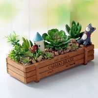 Honana HG-GP5 Multifunctional Vintage Natural Wood Garden Planter Succulent Rectangle Flower Pot
