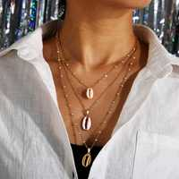African Style Shell Multi-Layer Necklace