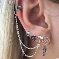 Trendy Sun Leaf Love Chain 4 Sets of Earrings Combination
