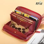 Les plus populaires Brenice Women RFID Blocking Cowhide Zipper Long Wallet Large Capacity Card Holder Coin Purse