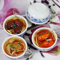 Simulation Large Bowl Chinese Food with Porcelain Spoon Key Chain Home Decoration