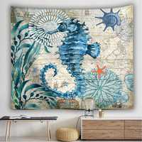 Large Ocean Seahorse Tapestry Wall Hanging Decor Boho Bohemian Bedspread Beach