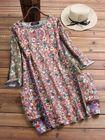 Bon prix Vintage Women Random Floral Print Crew Neck 3/4 Sleeve Dress