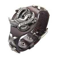 Trendy Unisex Genuine Leather Wristband Alloy Eagle Bracelet