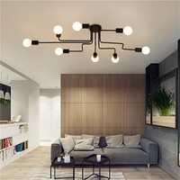 E27 8Heads Vintage Industrial Chandelier Pendant Light Metal Flush Mount Ceiling Lamp AC110-240V