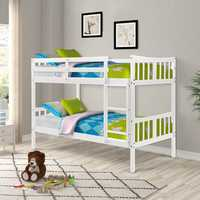 Children Bedroome Twin Over Twin Bunk Bed Wooden Double Bed with Ladder