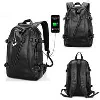 Men Shockproof Backpack PU Leather Laptop Rucksack Travel School Bag With USB Charging Port