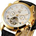 Meilleurs prix JARAGAR F120504 Fashion Automatic Mechanical Watch Date Display Leather Strap Men Wrist Watch