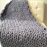 Warm Winter Luxury Handmade Crocheted Bed Knitted Sofa Cover Blankets 5 Colors Thick Thread