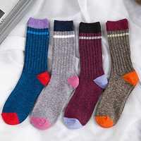 Men Vintage Cotton Stripe Middle Tube Socks Winter Warm Kintted Socks