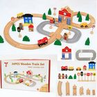 Meilleurs prix 50PCS/Set DIY Educational Wooden Railway Train Track Slot Xmas Kids Jigsaw Puzzle Toy