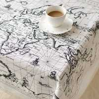 World Map Pattern Cotton Linen Tableware Mat Tablecloth Desk Cover Heat Insulation Bowl Pad 3 Size