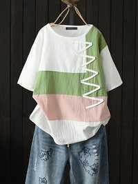 Women Striped Patchwork O-Neck Short Sleeve T-Shirts