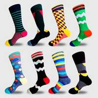 Men's Novelty Geometic Pattern Cotton Middle Tube Socks