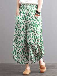 Women Vintage Leaves Print Elastic Waist Pants