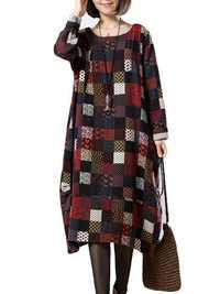 L-5XL Vintage Women Color Block Printed Dress
