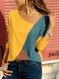 Women Color Patchwork Asymmetrical Collar Long Sleeve Blouse