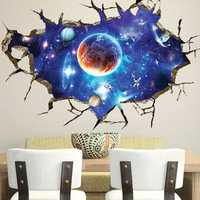 3D Sticker Outer Space Wall Stickers Home Decor Mural Art Removable Galaxy Wall Decals