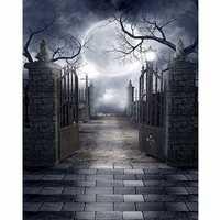 5x7FT Halloween Grave Gate Photography Backdrop Background Studio Prop