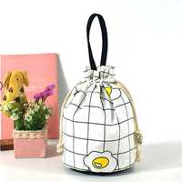 Brenice Women Canvas Cartoon Creative Bucket Bag String Bags Cosmetic Storage Bag