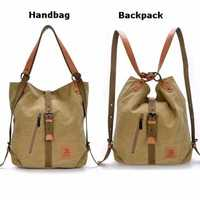 Women Men Canvas Handbags Multifunction Backpack