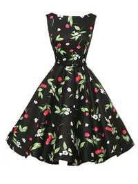 Hepburn Wind Women Vintage Cherry Floral Printed Sleeveless Swing Dresses