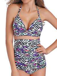 Sexy Halter Strap Printed Wireless Swimwear Sets