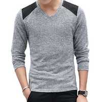 Autumn Men's Fashion V-collar Pullovers Sweater Solid Color Slim Fit Casual Knit Sweater