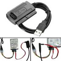 USB 2.0 To SATA/IDE Data Hard Drive Cable For HDD Power Converter Adapter