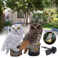 Solar Powered Owl LED Lawn Lamp Garden Decor Waterproof Landscape Light