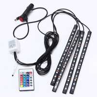 15 LED Colorful RGB Car Interior Floor Atmosphere Strip Light Remote Decoration Lamp