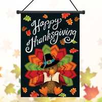 30x45cm Thanksgiving Polyester Turkey Welcome Flag Garden Holiday Decoration