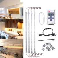 4 X 50CM 5630SMD Waterproof 36 LED Rigid Strip Light Cabinet Lamp + Remote Control DC12V