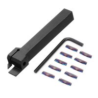 Drillpro MGEHR1212 Parting Off Turning Tool Holder with 10pcs Blue Nano MGMN200 Carbide Inserts