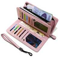 Universal Large Capacity Card Slot Long Purse Clutch Phone Wallet for Phone Under 5.5-inch