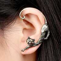 1Pc Trendy Left Ear Stud Cuff Exaggerated Alloy Winding Cat