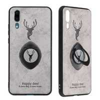 Bakeey Happy Deer Ring Holder Bracket TPU+PU Leather Protective Case For Huawei P20
