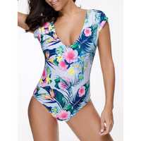 Women Comfy Short Sleeves Beach Bathing Suit Swimwear