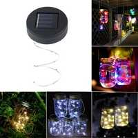 Solar Powered 2M 20LEDs Mason Jar Lid Fairy String Light Wire Lamp For Garden Decor
