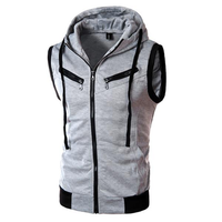 Summer Mens Casual Vest Fashion Sleeveless Vest Hooded