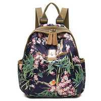 Women National Style Flower Pattern Nylon Shoulder Bags