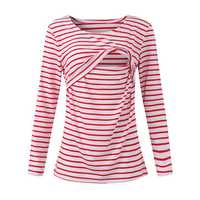 Striped Pattern Long Sleeve Nursing Tops Breast feeding Clothes Tees For Pregnant Women Maternity