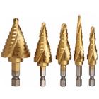 Bon prix 5Pcs HSS Spiral Step Grooved Drill Bit Set Titanium Coated Step Drill Bits 1/4 Hex Shank