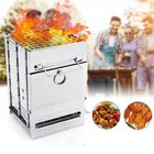 Meilleurs prix Stainless Steel Square Folding Portable Barbecue BBQ Grill Stove Compact Charcoal Outdoor Camping Cooker